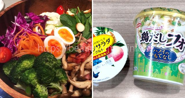 GLP-1ダイエット中の食事(サラダとヨーグルト、フォー)